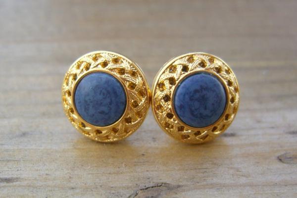Indigo-Gold-Earrings