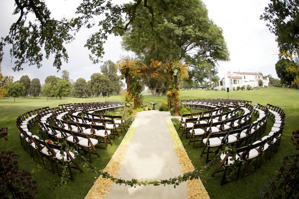 Outdoor Organic Elegant In The Round Wedding Ceremony