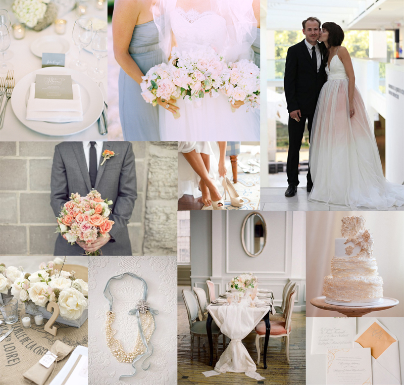 Peach, Light Blue, And Gray Wedding Inspiration Board