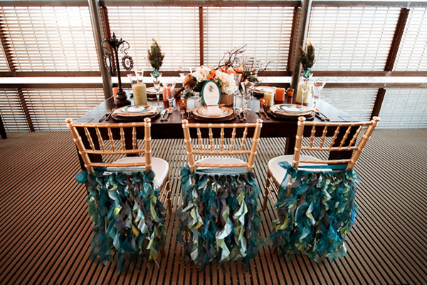 Peacock-Inspired-Ruffled-Chair-Covers