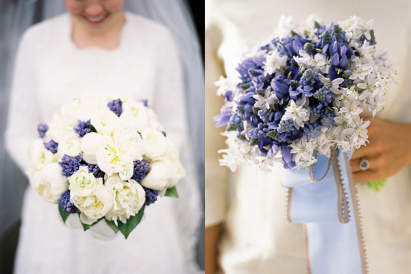Periwinkle-and-White-Wedding-Bouquets