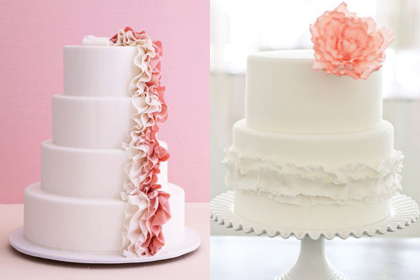 Pink-and-White-Ruffled-Wedding-Cakes