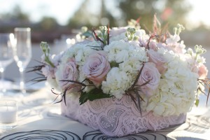 Pretty-Pink-and-White-Lace-Centerpiece