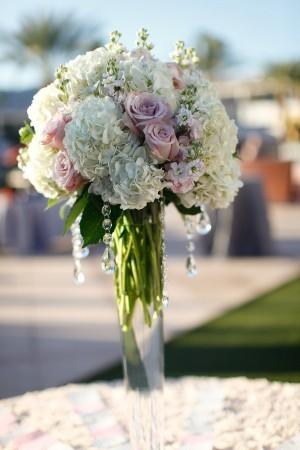 Tall-White-Hydrangea-Pink-Rose-Centerpiece