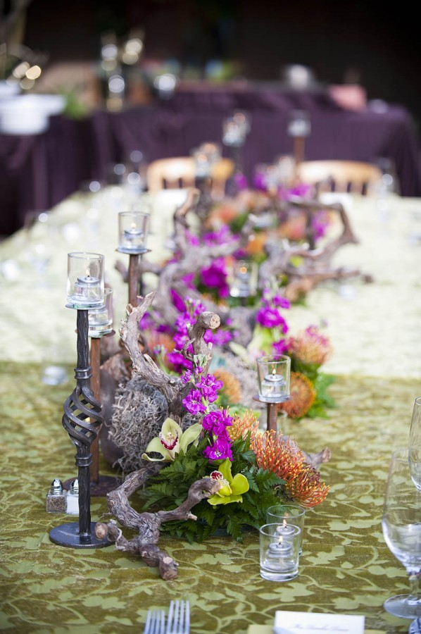 Tropical Driftwood Orchid Table Runner