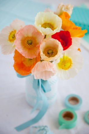 Friday flowers poppies elizabeth anne designs the wedding blog aqua and poppy bouquet mightylinksfo