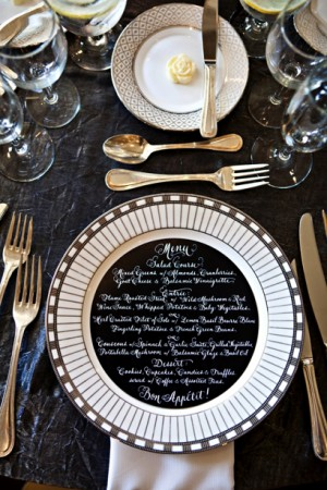 black-and-white-calligraphy-menu-place-setting
