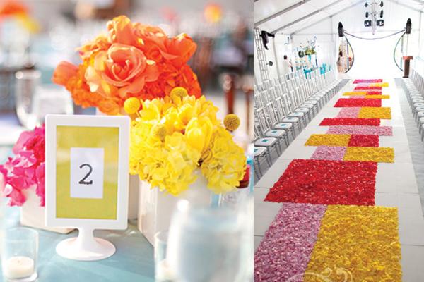 fuchsia-yellow-tangerine-colorblocked-wedding
