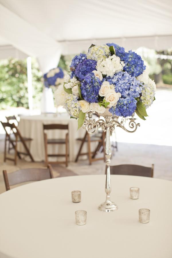 Blue And White Tall Wedding Centerpiece Elizabeth Anne Designs