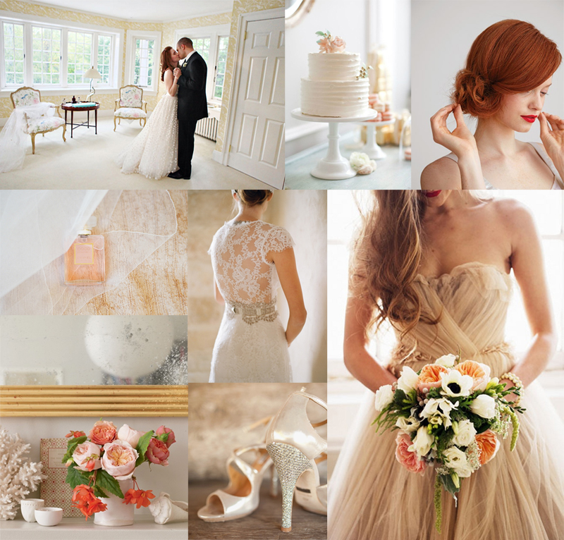 Blush Cream & Coral Wedding Inspiration Board