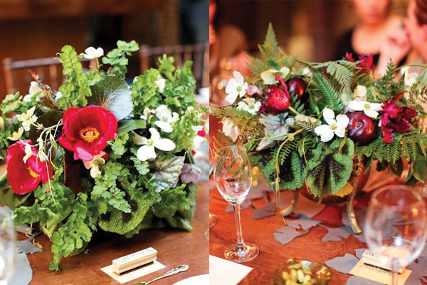 Deep-Red-Tulip-Fern-and-Dogwood-Centerpieces