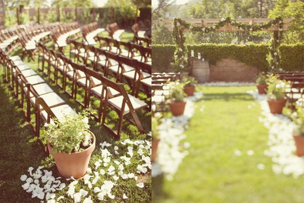 Planters-and-Flower-Petal-Wedding-Ceremony-Aisle - Elizabeth Anne ...