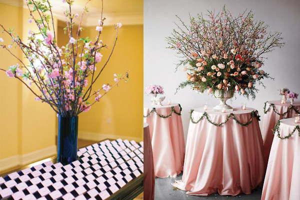 tall cherry blossom wedding arrangements elizabeth anne designs the