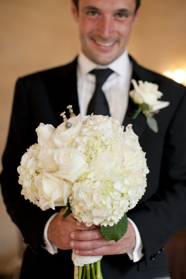 White Rose And Hydrangea Wedding Bouquet