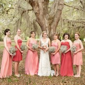 Coral-and-Melon-Bridesmaids-Dresses