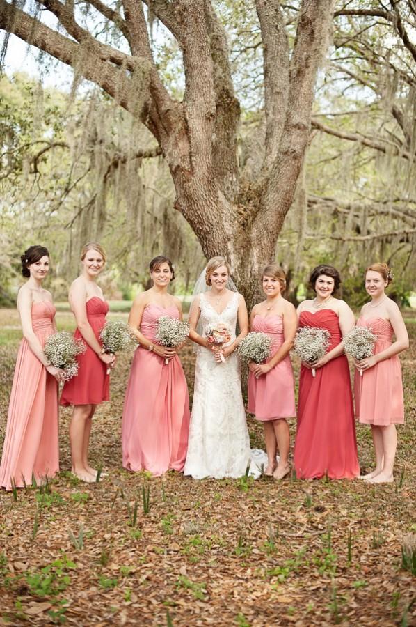 Coral-and-Melon-Bridesmaids-Dresses