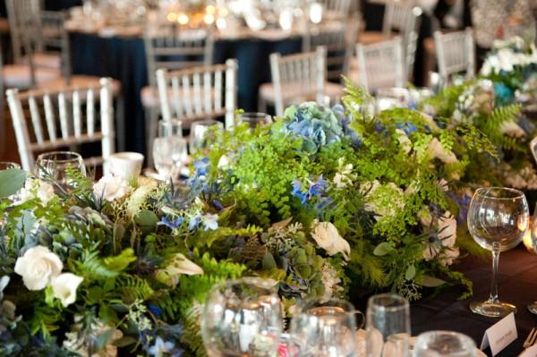 Hydrangea-Fern-Blue-Green-Centerpiece-Estate-Table
