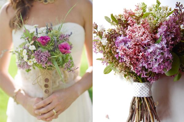 Organic Lilac Wedding Bouquets