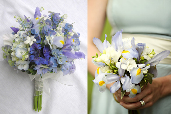Pastel Purple And Blue Wedding Bouquets