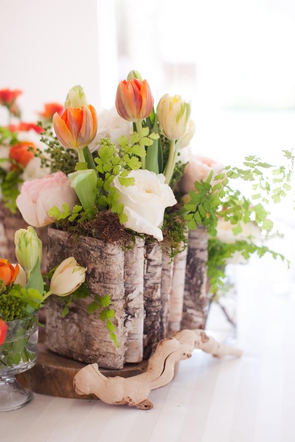 Tulip Fern Wood Wedding Centerpiece Elizabeth Anne Designs The