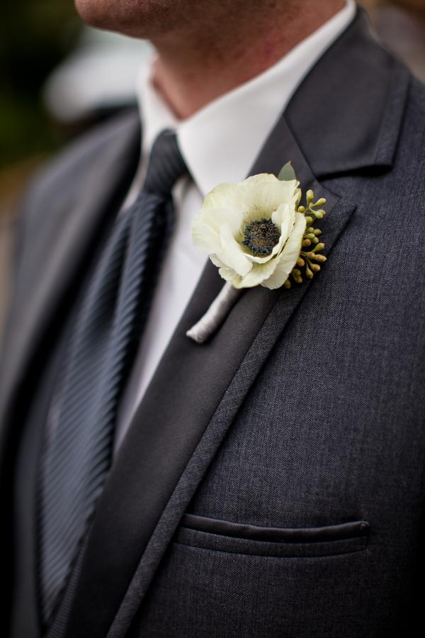 White Anemone Boutonniere Elizabeth Anne Designs The
