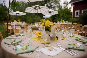 Yellow-and-Green-Wedding-Reception-Table-Decor