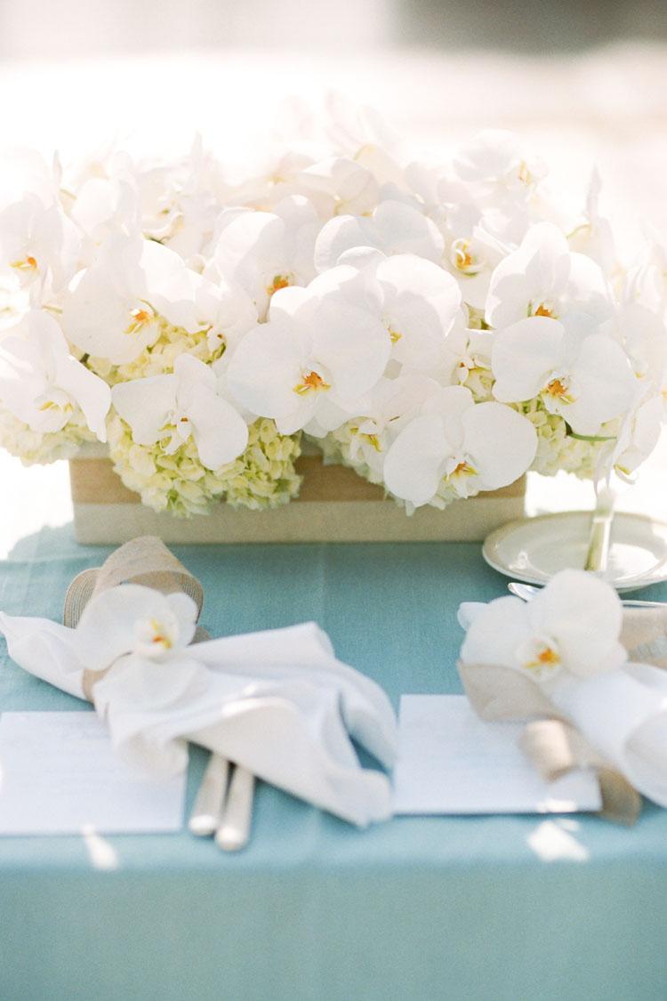 Beach orchid hydrangea centerpiece elizabeth anne