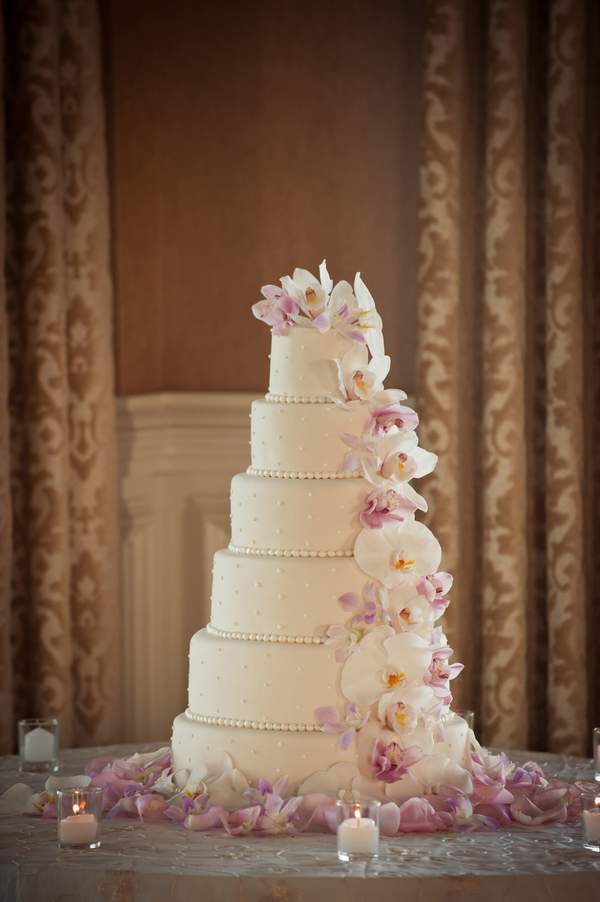 Cascading Orchid Wedding Cake Elizabeth Anne Designs