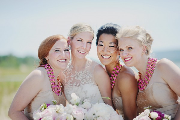 Champagne and Pink Bridesmaids