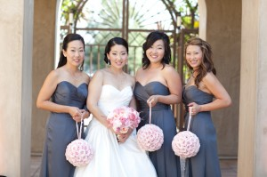 Grey Bridesmaids Dresses with Pink Pomanders