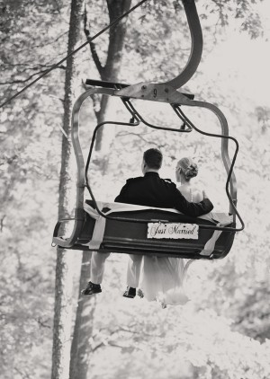 Just Married Ski Lift
