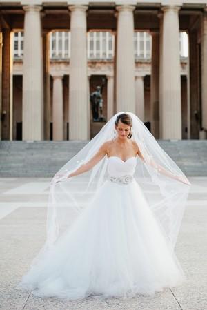 Lazaro Wedding Dress and Heirloom Veil
