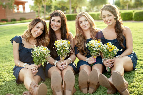 Navy and Daisies Bridesmaids