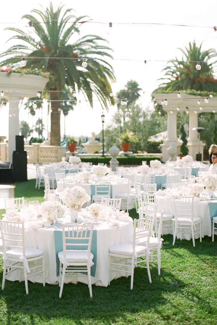 St regis monarch beach resort wedding from caroline tran for Garden wedding reception decorations