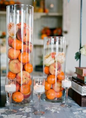 Peach and Orange Wedding Centerpiece