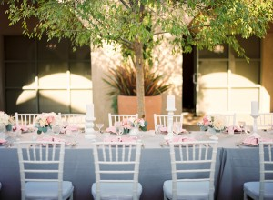 Pink Gray White Outdoor Wedding Reception