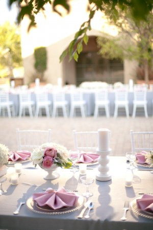 Pink and Grey Wedding Reception