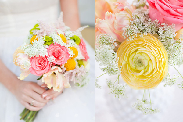 Pink And Yellow Wedding Flowers