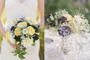 Purple and Yellow Bridal Bouquets