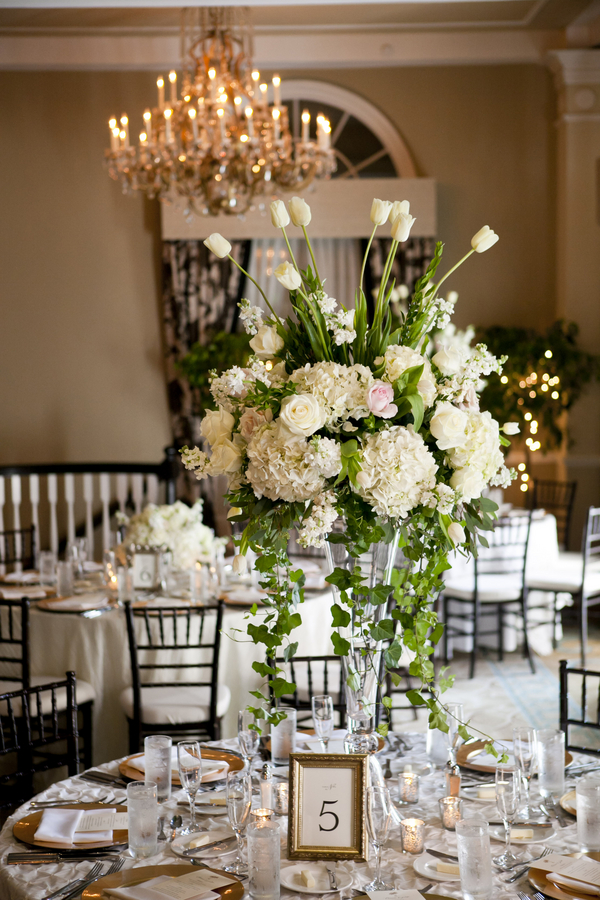 Tall White Wedding Centerpiece 2 Elizabeth Anne Designs The