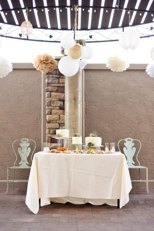 Whimsical Peach Green Cake Table