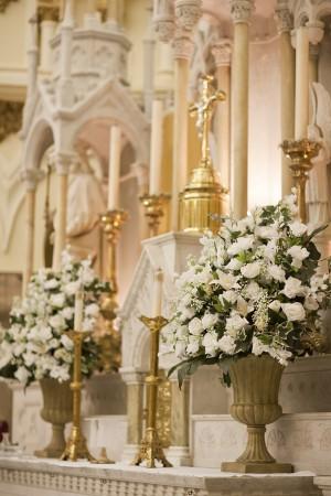 White Ceremony Floral Arrangements