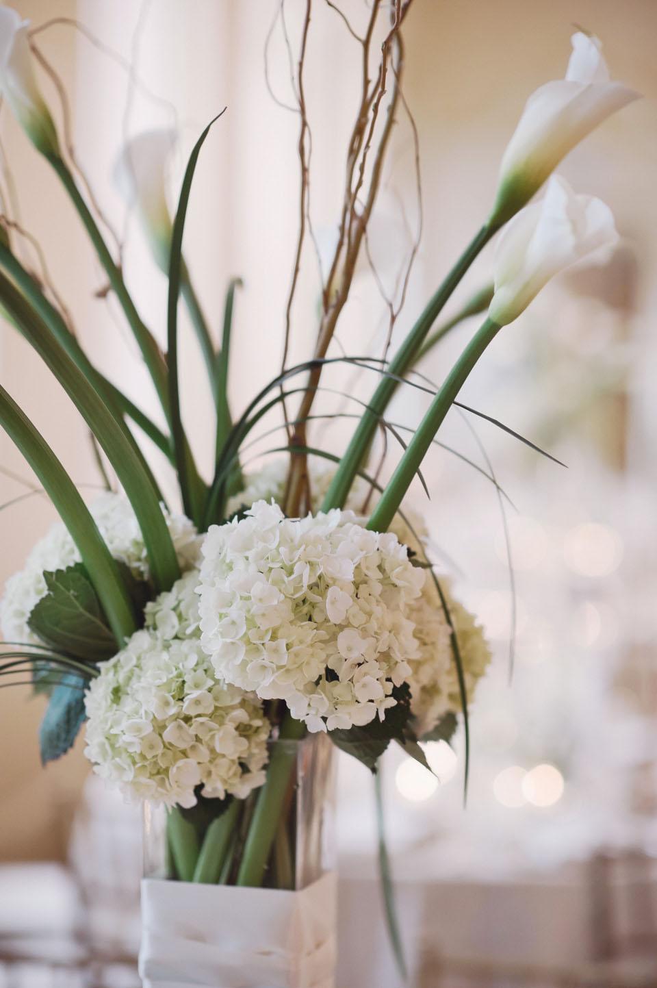 White hydrangea wedding centerpiece elizabeth anne