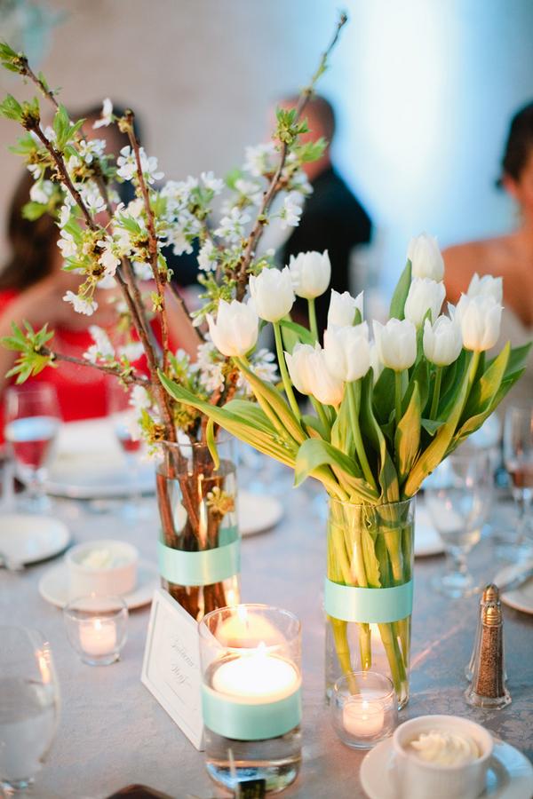 White Tulip Wedding Centerpiece