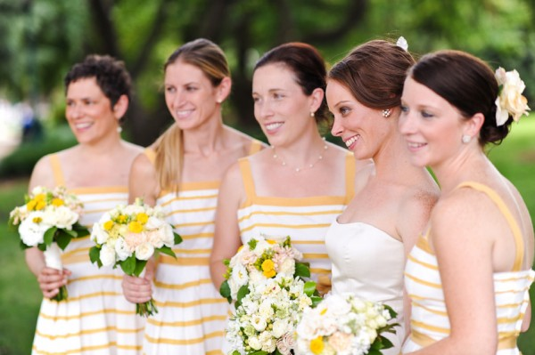 Yellow-Striped-Bridesmaids-Dresses