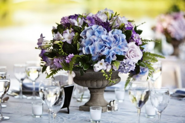 Blue Hydrangea Wedding Centerpiece