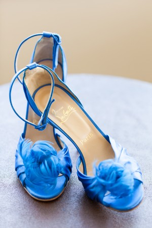Blue Louboutin Wedding Shoes