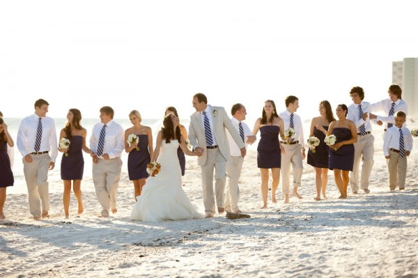 Blue and Tan Bridal Party