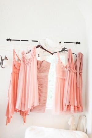 Coordinating Pink Bridesmaids Dresses