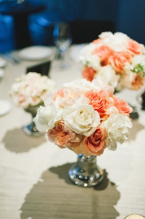Coral and Blush Rose Centerpiece